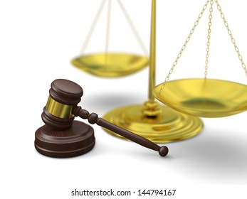 Golden scale and gavel on white background, symbols of law and justice