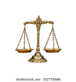 Golden scales of Justice isolated on white background