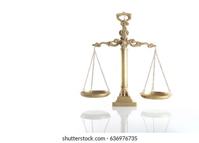 Golden scales of justice isolated on a white background