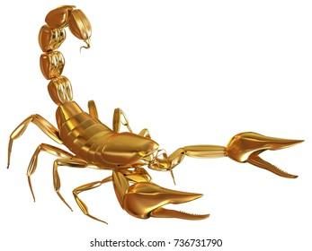 Golden scorpio. 3d illustration