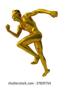 golden sculpture man runs on white background - 3d illustration