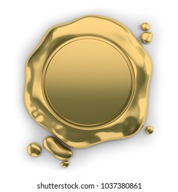 Golden seal wax. 3d image. White background.
