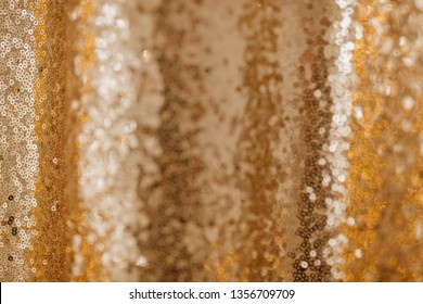 Golden Sequin Abstract Background Glitter Pattern. Gold Sequence Fabric Backdrop for Holiday Magic Carnival. Sequined Effect Textile for Glamour Vibrant Party. Glittery Bokeh Festive Cloth Shine