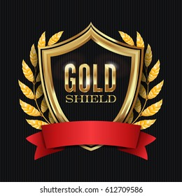 Golden Shield With Laurel Wreath And Red Ribbon. Illustration.