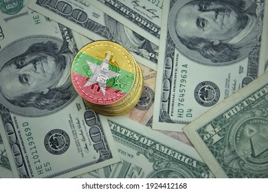golden shining bitcoins with flag of myanmar on a dollar money background. bitcoin mining concept.
