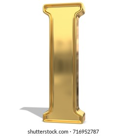 Golden shining metallic 3D symbol letter I - isolated on white