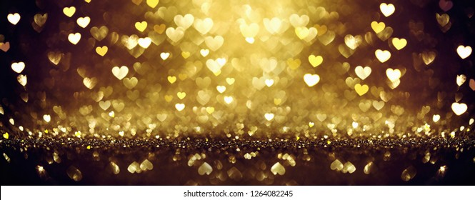 Golden Shiny background with Hearts. Valentine's Day