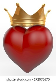 Golden, shiny crown on top of a red heart, 3d rendering on white background