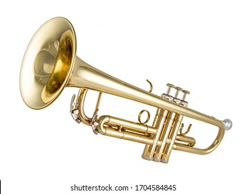 Golden shiny new metallic brass trumpet music instrument isolated on white background. musical equipment entertainment orchestra band concept. - Shutterstock ID 1704584845