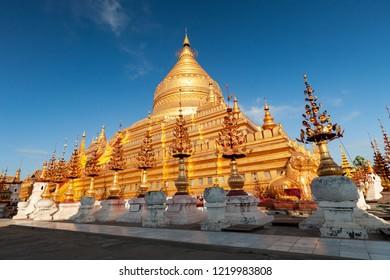 Golden Shwezigon pagoda in Bagan, Myanmar