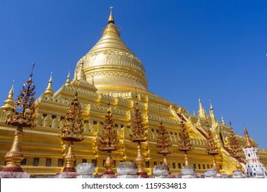 The golden Shwezigon Pagoda, one of the important landmark at Bagan, Old ancient capital city of Myanmar: Bagan, Myanmar