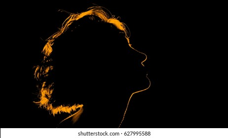 golden silhouette female portrait