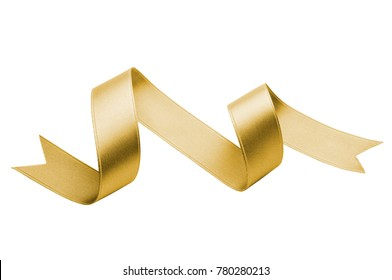 golden silk ribbon isolated