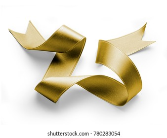 golden silk ribbon on white with light shadows