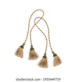 Golden silk tassels isolated on white background for creating graphic concepts