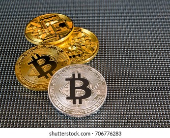 Golden and silver bitcoin on abstract background. Bitcoin cryptocurrency
