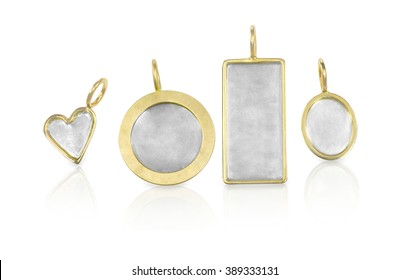 Golden Silver blank customizable trinket pendants