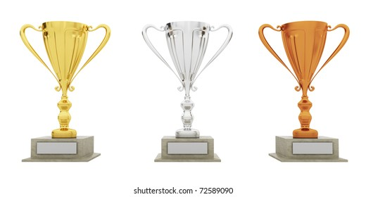 Golden, silver and bronze Trophy on white