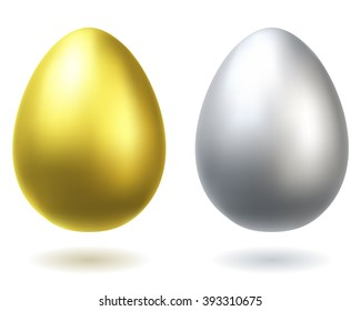 Golden and silver eggs realistic illustration.