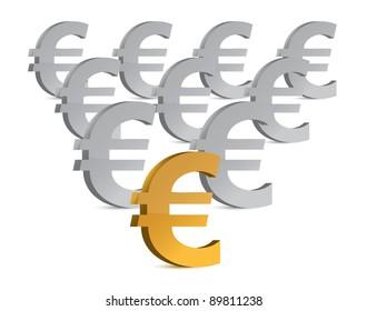 golden and silver euro symbols illustration design