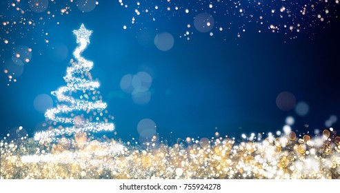 golden and silver lights with christmas tree on blue background,bright decoration for merry xmas greeting message.Elegant holiday season social post digital card.Copy type space for text or logo