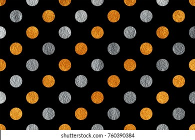 Golden and silver painted polka dot background. Pattern with dots for scrapbooks, wedding, party or baby shower invitations.