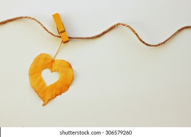 Golden single autumn leaf hanging line rope yellow clothes-pin symbol heart autumnal empty background