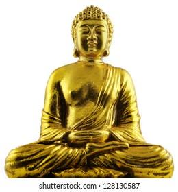 golden sitting Buddha isolated