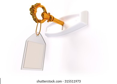 A golden skeleton key with a blank label in a white keyhole on a white background.