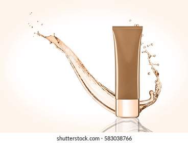 Golden skin care cream container with water splash on white background with reflection