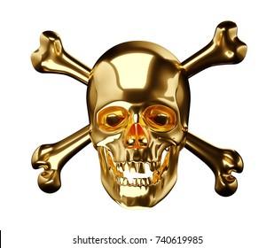 Golden Skull with crossbones or totenkopf isolated on white 3d render 3d illustration