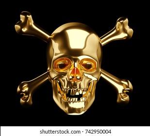 Golden Skull with crossbones or totenkopf isolated on black 3d render 3d illustration