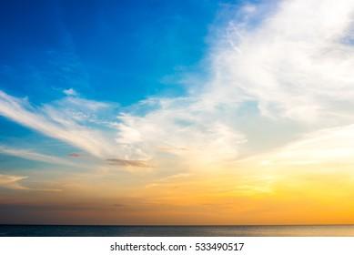 Golden sky and blue sky