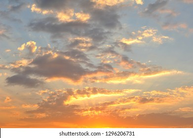 Golden sky in the evening, Phrae.