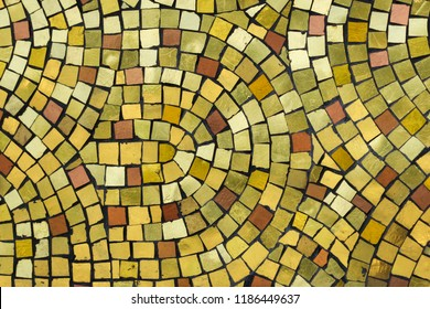 Golden smalt on the mosaic panel outside the Kronstadt Naval Cathedral in Kronstadt near Saint Petersburg, Russia.