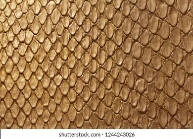 Golden Snake Skin Fashion Leather Texture Background