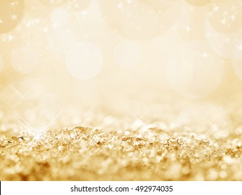 Golden snow and bokeh Christmas background, new year concept