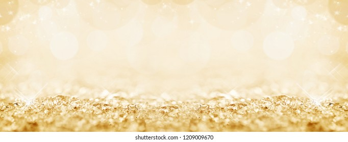 Golden snow and bokeh Christmas panoramic background
