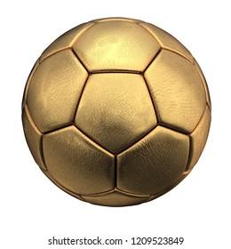 golden soccer ball isolated on white background