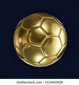 Golden soccer ball on dark blue background