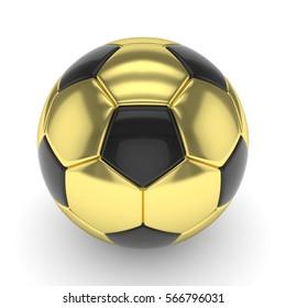 Golden soccer ball on white background. 3D rendering.