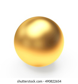 Golden sphere or ball isolated on a white background. 3D illustration