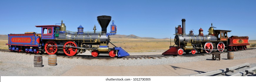 Golden Spike National Historic Site, Utah, USA, August 5, 2010, panorama of engines Jupiter and 110
