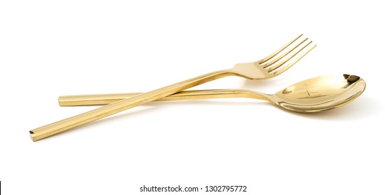golden spoon and fork isolated on a white background