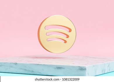 Golden Spotify Icon on Pink Background . 3D Illustration of Golden Audio, Audio Streaming, Music Icons on Pink Color With White Marble.
