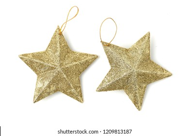 Golden star christmas decoration isolated on white background.Used on Christmas trees.