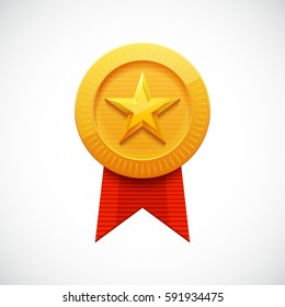 Golden Star Medal Award with Ribbon for Sports Games. Achievement Icon Isolated on White Background.