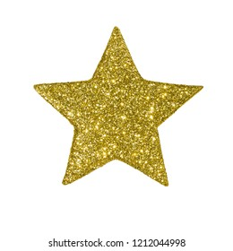 Golden star with sparkles on white background isolated