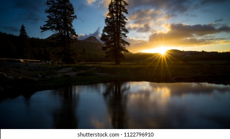 Golden starbust as the sun sets over Tuolomne Meadows - Tioga Pass