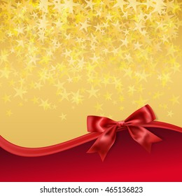 golden starry background with red bow decoration. raster